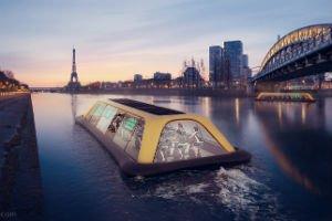 Diseñan un gimnasio ecológico flotante en Francia