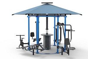 Nuevo gimnasio en círculo para entrenar al aire libre