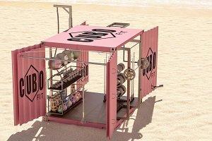 Cubo Fit, gimnasio en forma de contenedor para entrenar en la playa